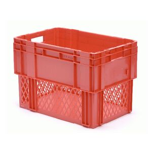 Stapelbare, nestbare transportkrat DTK1 600x400x420 rood