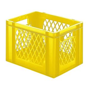Transportkrat Euronorm plastic bak, krat TK1 400x300x270 geel