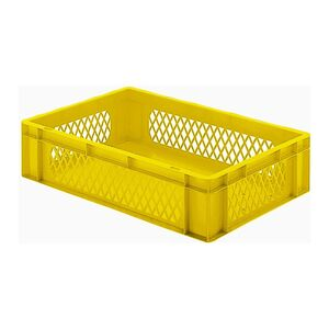 Transportkrat Euronorm plastic bak, krat TK1 600x400x145 geel