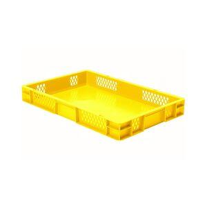 Transportkrat Euronorm plastic bak, krat TK1 600x400x75 geel