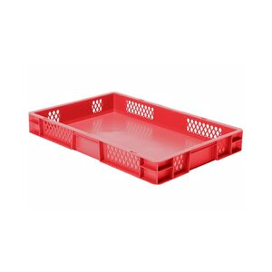 Transportkrat Euronorm plastic bak, krat TK1 600x400x75 rood