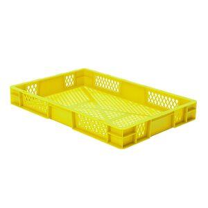 Transportkrat Euronorm plastic bak, krat TK2 600x400x75 geel