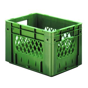 Zware transportkrat Euronorm plastic bak, krat VTK1 400x300x270 groen