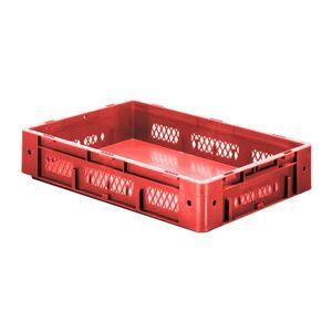 Zware transportkrat Euronorm plastic bak, krat VTK1 600x400x120 rood