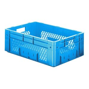Zware transportkrat Euronorm plastic bak, krat VTK1 600x400x210 blauw