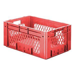 Zware transportkrat Euronorm plastic bak, krat VTK1 600x400x270 rood