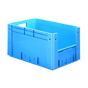 Zware transportkrat Euronorm plastic bak, krat VTK4 600x400x320 blauw