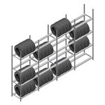 Voordeelrij bandenstelling Medium Duty 2500x4000x700 4 secties 4 niveaus